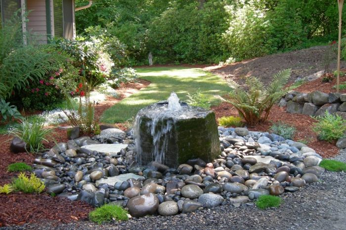 Wasserfall Im Garten Selber Bauen 99 Ideen Wie Sie Die Harmonie Der Natur Geniessen Brunnen Garten Springbrunnen Garten Wasserfall Garten
