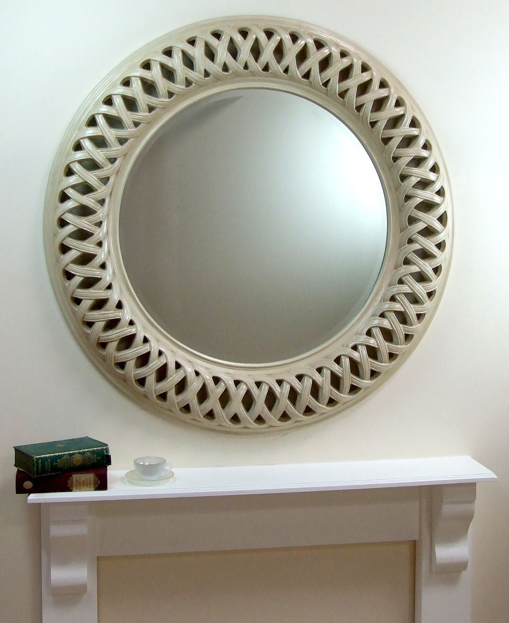 Venice very large round wall mirror ivory frame art deco cm