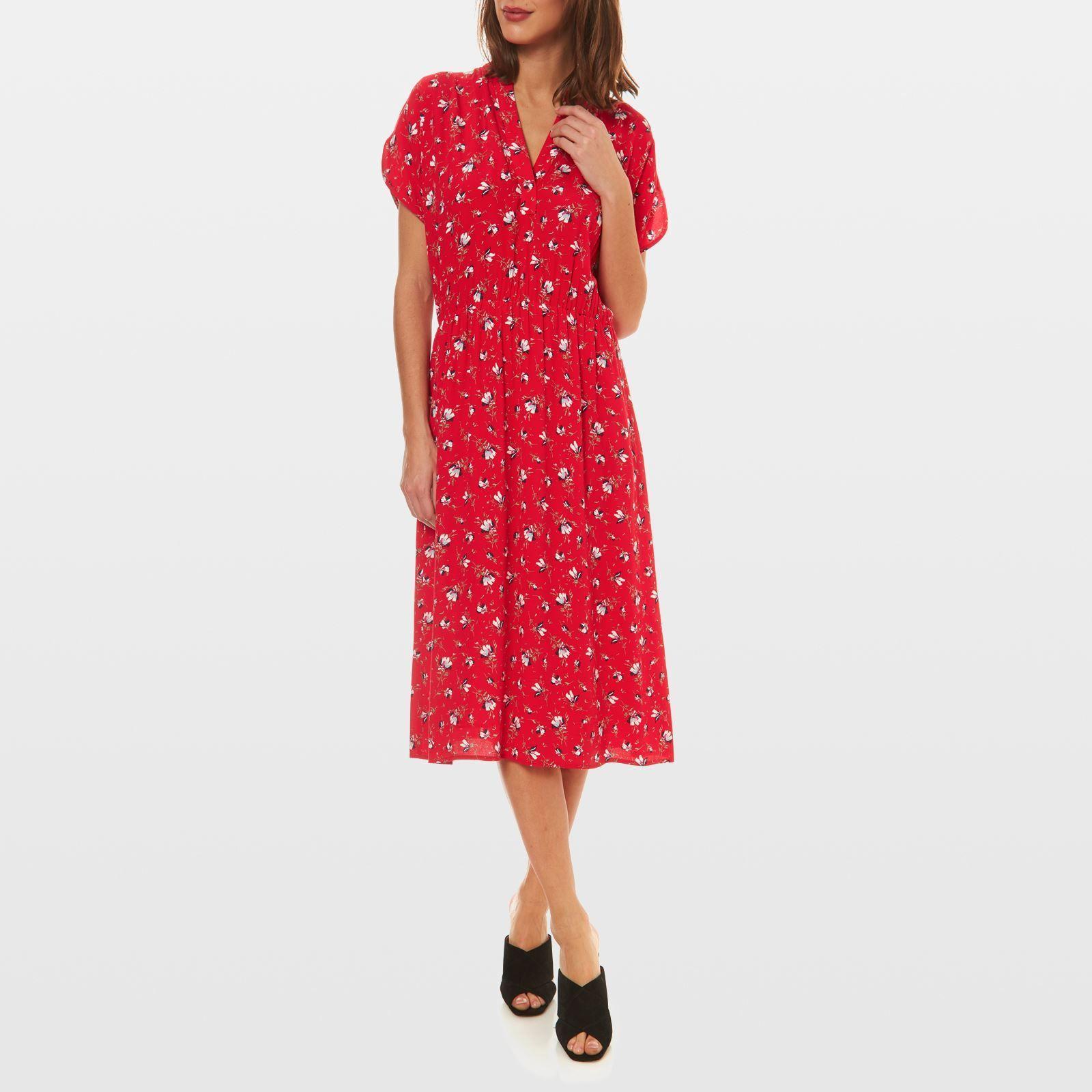 Caroll Stella Robe Fluide Imprime Fleurs Rouge Robe Fluide Robe Robes Sans Manche