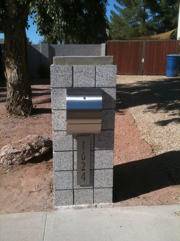 Modern Stainless Mounting/ Curbside Mailbox with Address