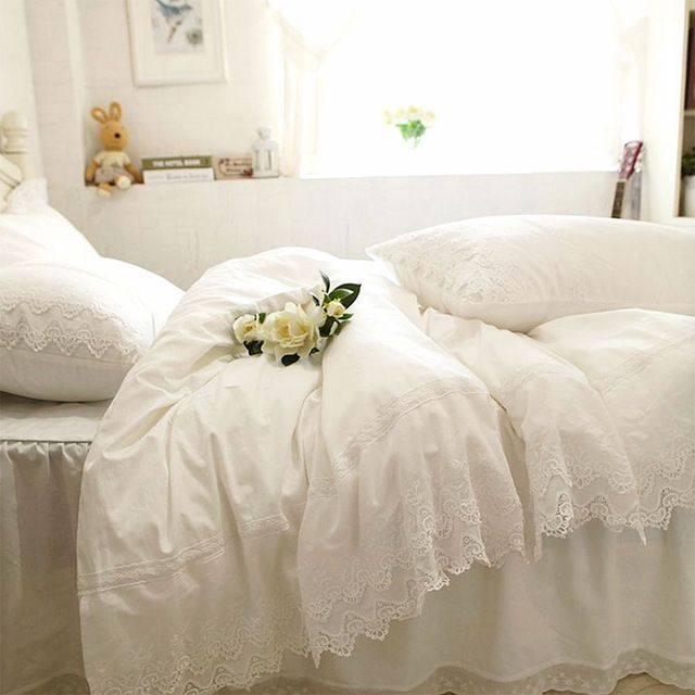 Aliexpress Com Buy Luxury White Lace Ruffle Bedding Set Twin