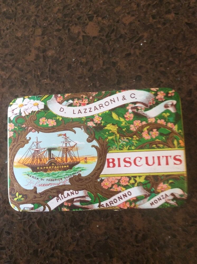 RARE VINTAGE D Lazzaroni & Co Italian Biscuit Tin Italy Cookie Advert  | eBay
