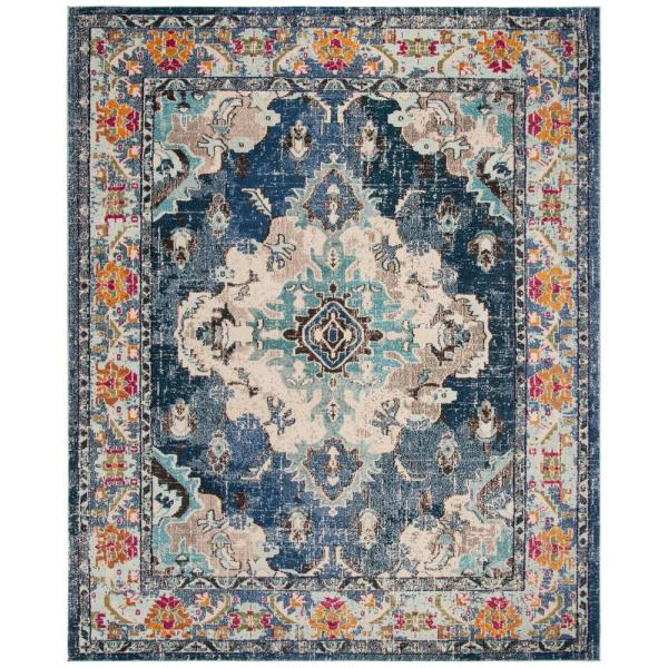 Safavieh Monaco Navy Light Blue 8 Ft X 10 Ft Area Rug Mnc243n 810 The Home Depot In 2020 Safavieh Rug Light Blue Rug Oriental Area Rugs