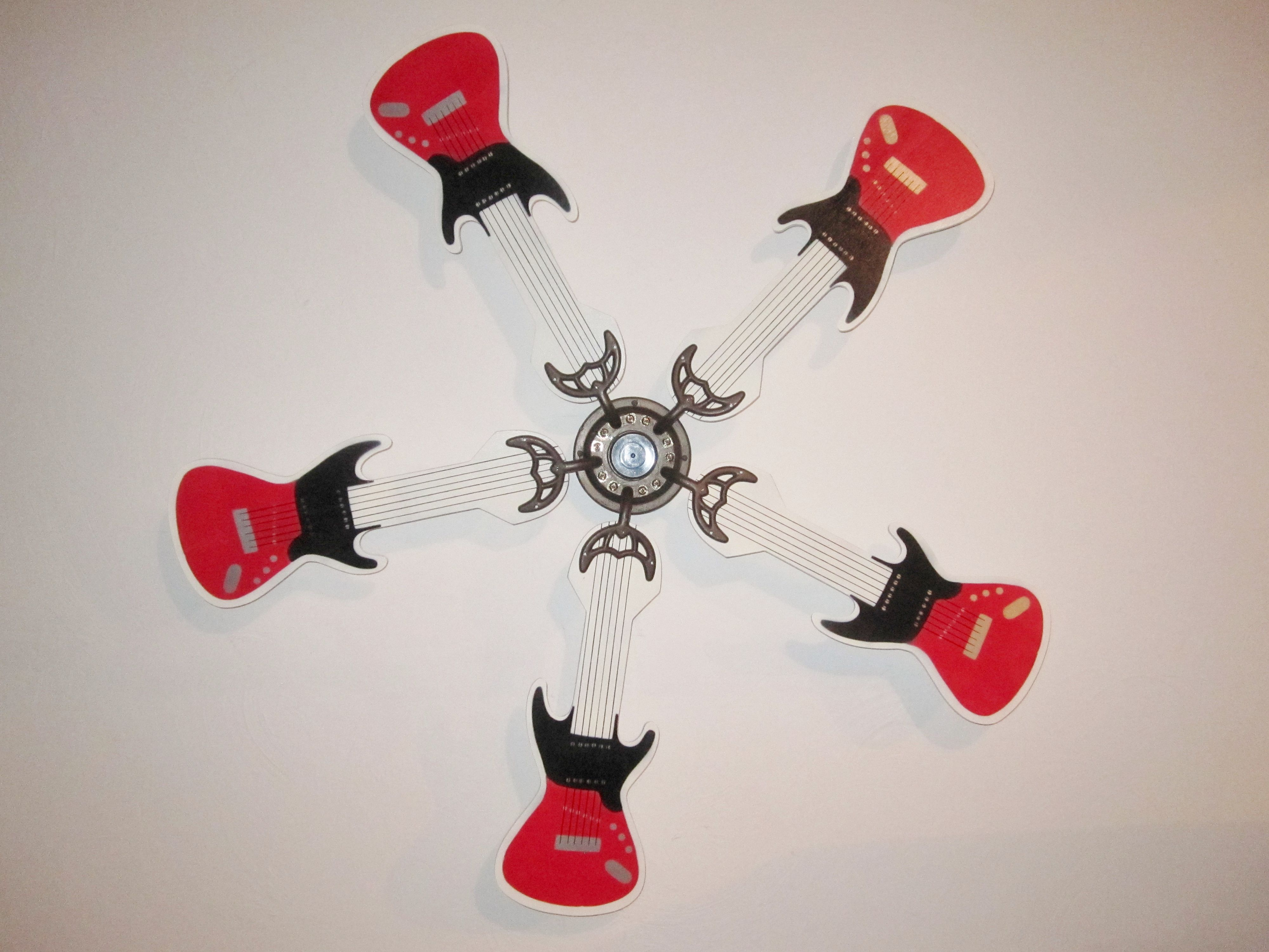 Red White And Black Guitar Shaped Replacement Ceiling Fan Blades
