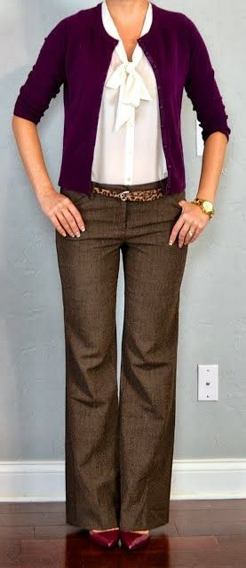 work outfit-purple w brown pants... Love the color of the cardigan, pants, belt ...