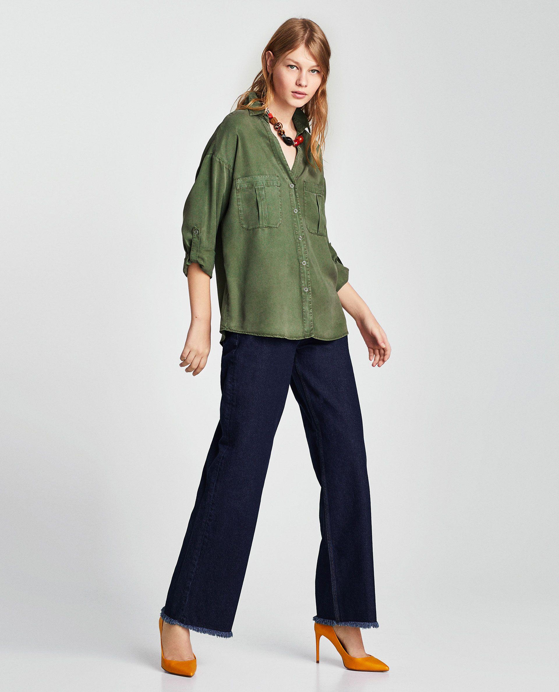 CAMISA FLUIDA ESCOTE PICO | camisas | Shirts, Capri pants y
