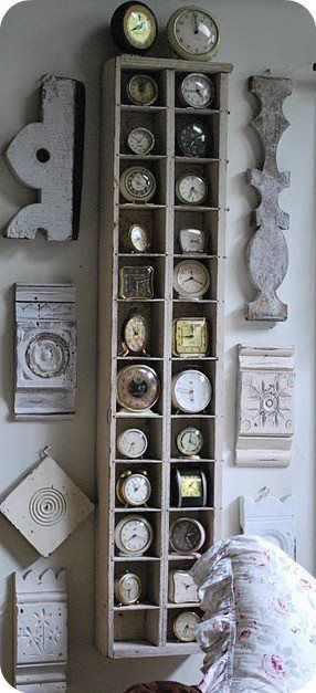 Great architectural pieces with a collection of vintage clocks. Fun! Unknown source.
