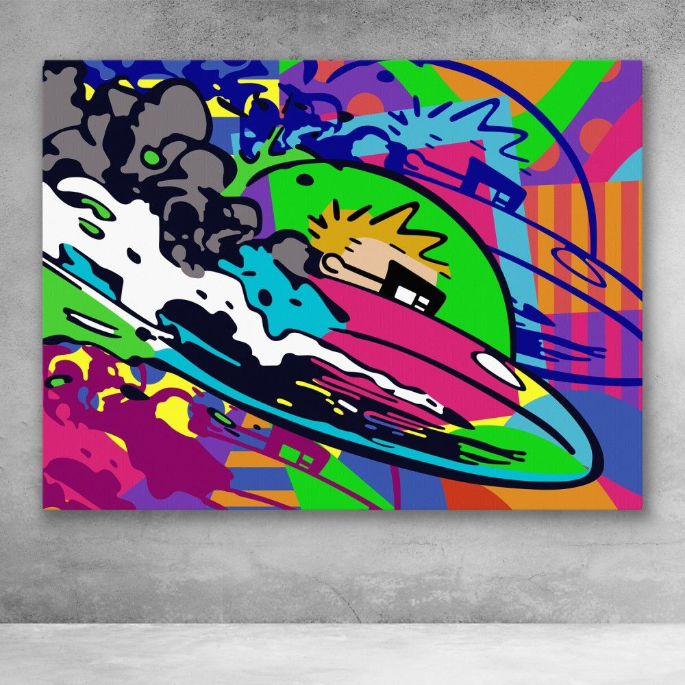 Spaceman Pop Art Cartoon Comic Canvas Art Pop Art Modern Wall Art Canvas Graffiti Cartoons