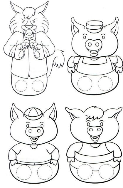 three little pigs puppet printable Homeschool - Preschool