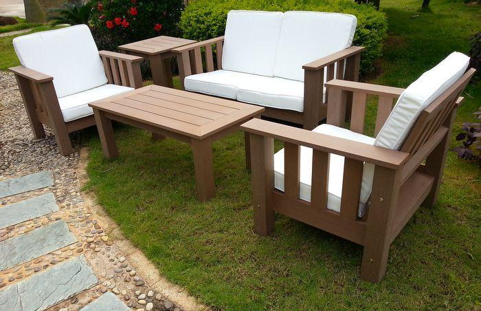 fauteuil de jardin brown sofa rsine aspect bois fonc coussins blanc