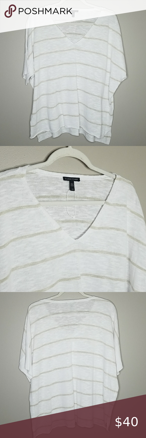 NWOT Eileen Fisher Linen Top, Large NWOT Eileen Fisher Linen Top in White and Tan Stripes, Dolman Sleeves, Size Large.  56% Organic Linen, 44% Organic Cotton. Measures approximately 25