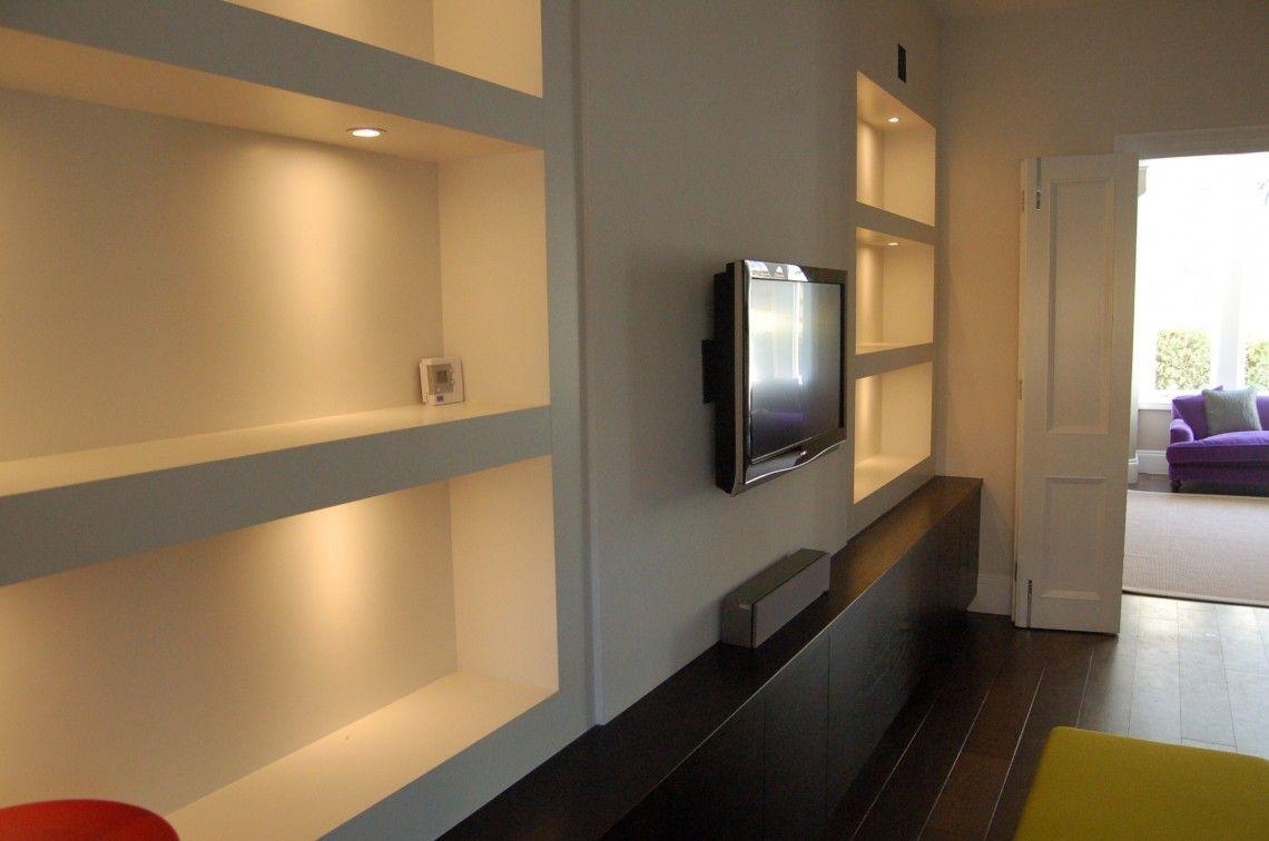 Interior Ideas White Stained Wooden Floating Shelves Without Bracket Built In Led Lights Brac Alcove Shelving Floating Shelves Bathroom Modern Floating Shelves