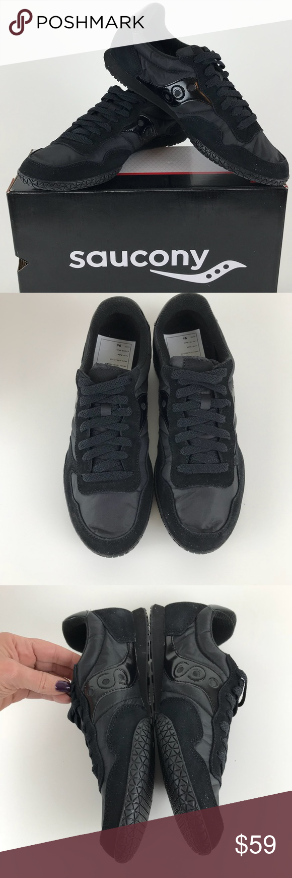 e6a97f14fb03 Saucony MENS Bullet Retro Sneaker Black Black Black on black with patent  accents New sample