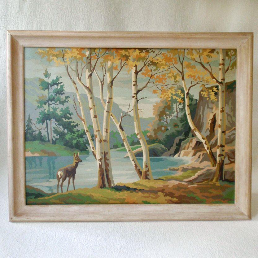Vintage Pbn Paint By Numbers Deer In Woodland Painting Painting Forest Painting Paint By Number Vintage