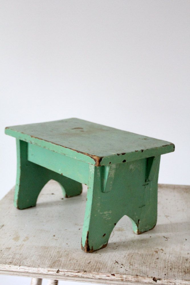 Antique Step Stool Green Wood Riser 68 00 Via Etsy