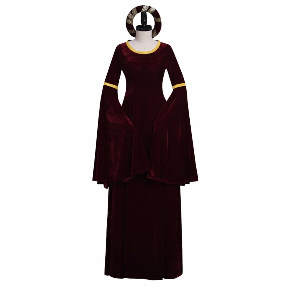 Click to buy ucuc vintage dark red turing renaissance medieval dress