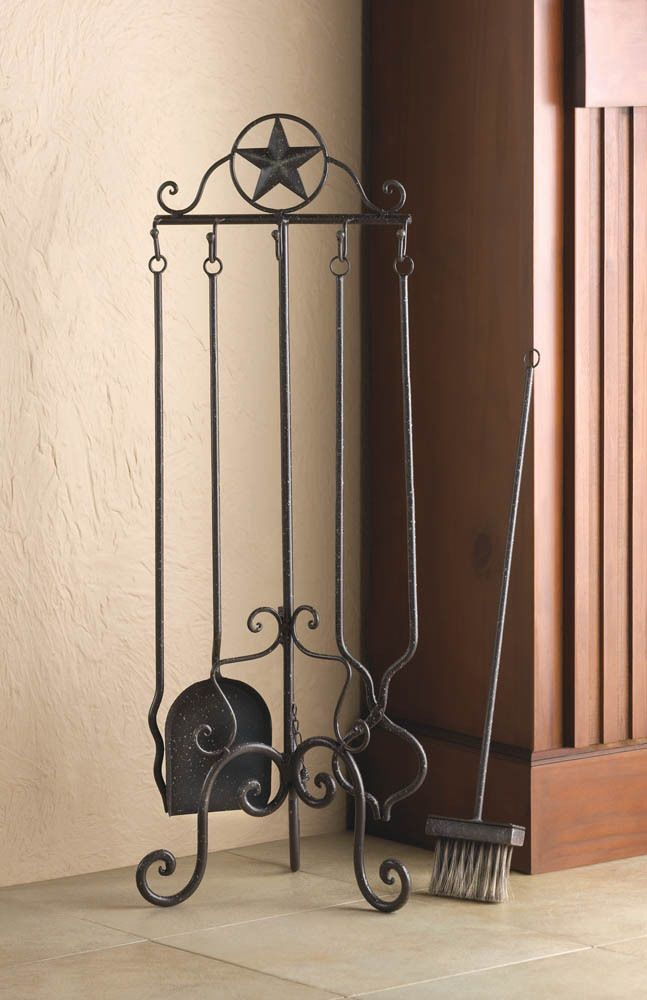 Texas Lone Star Wrought Iron Fireplace ToolsMetal Art Work Home