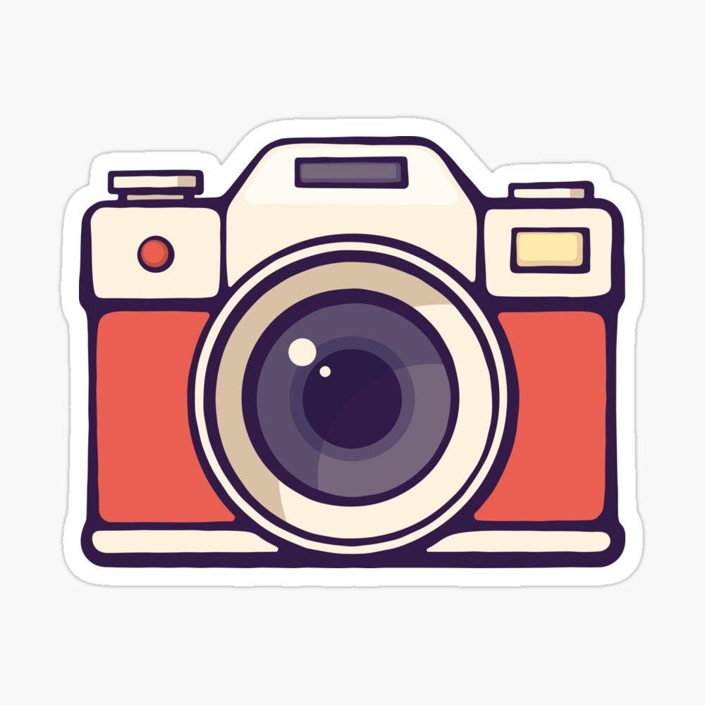 Retro Instant Photo Camera Sticker By Pisarovsky In 2021 Camera Clip Art Camera Logo Instant Photo Camera