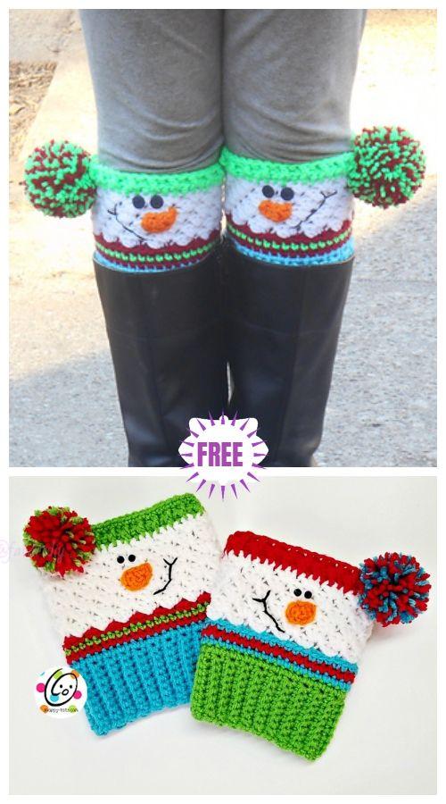 Crochet Snowman Boots Crochet Pattern #crochetedhats
