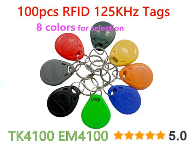 100pcs 125khz Rfid Tag Proximity Keyfobs Ring Access Control Card 8 Colour For Access Control Time Attendance Access Control Cards Plastic Case
