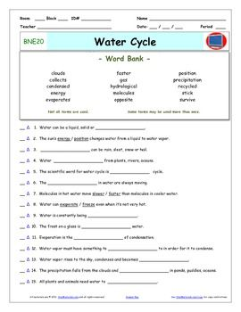 Differentiated Video Worksheet, Quiz & Ans. for Bill Nye - Water ...