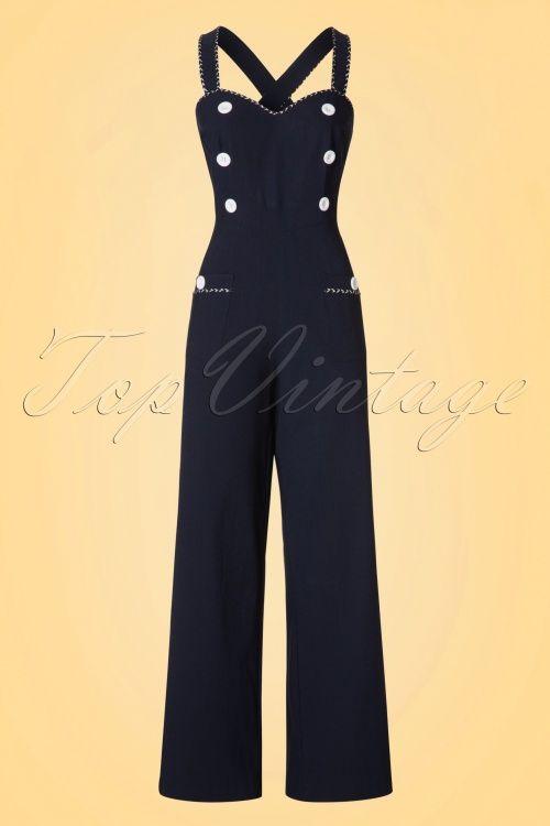 701ba3dbeec Voodoo Vixen Maggie May Navy dark blue Dungarees jumpsuit donker blauw