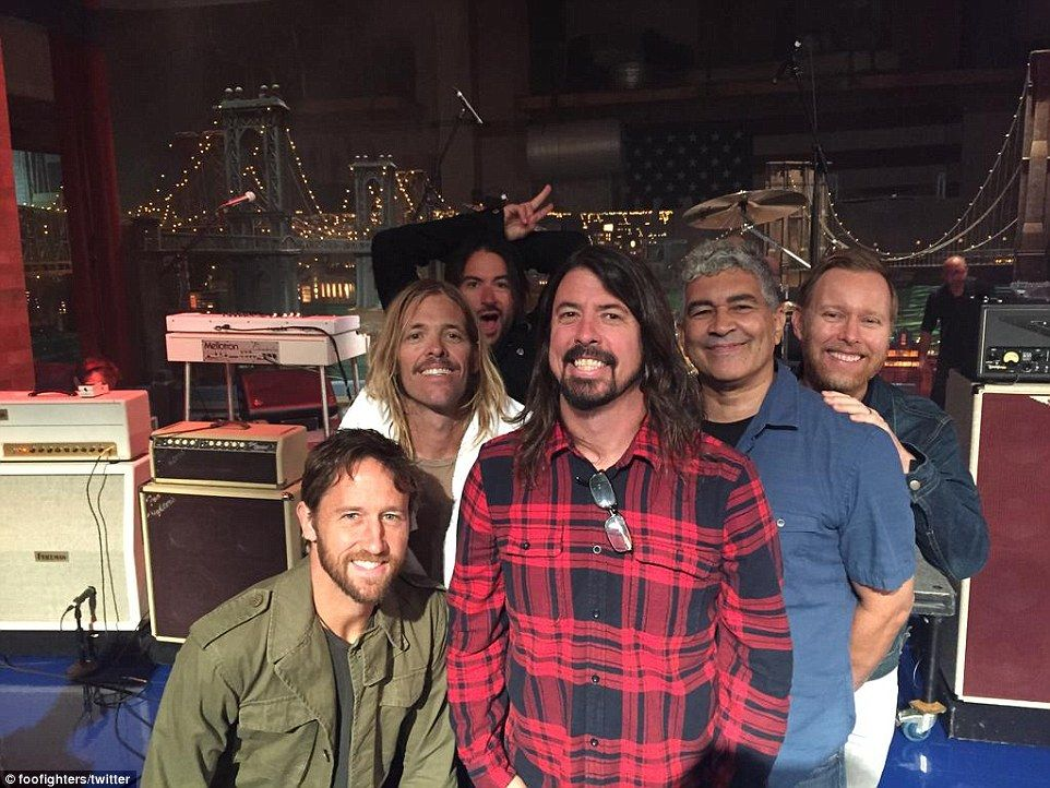 Musical guests: The Foo Fighters shared a snap from inside the studio as they set up for a performance on the final taping of David Letterman's Late Show