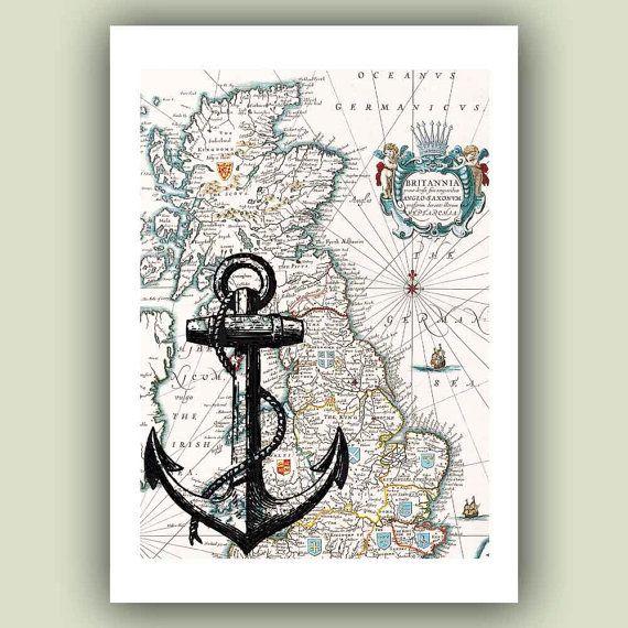 Ocean Anchor Print On Old Britannia Map Marine And Nautical Art