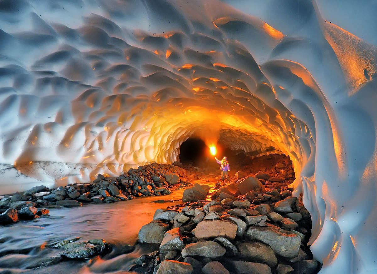 Image of the day:Ice cave made by a volcano #image #photo #nature