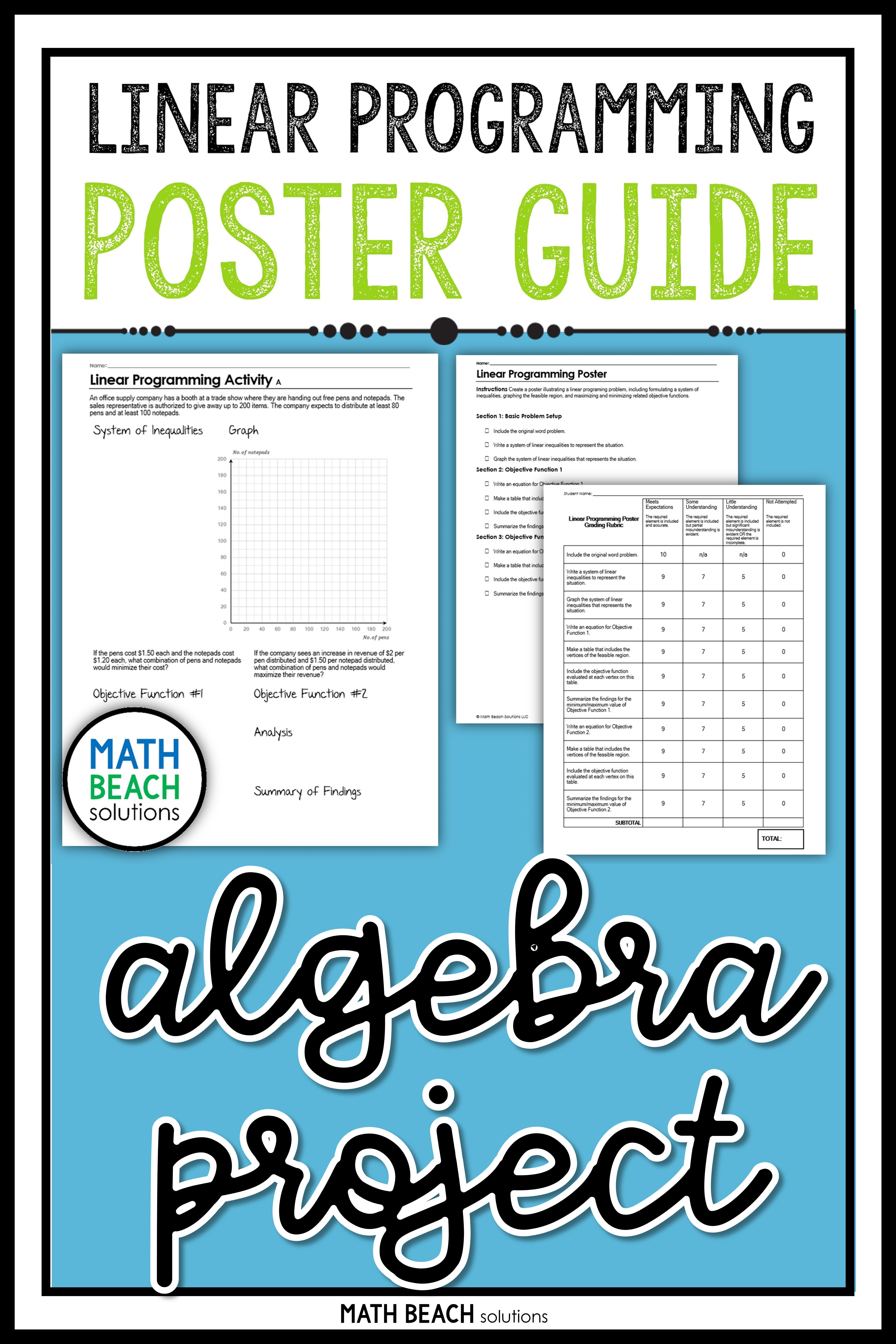 Not Quite Sure How To Tackle Linear Programming Try A Poster Project And Give Students A Chance To Dig Linear Programming Algebra Worksheets Algebra Resources