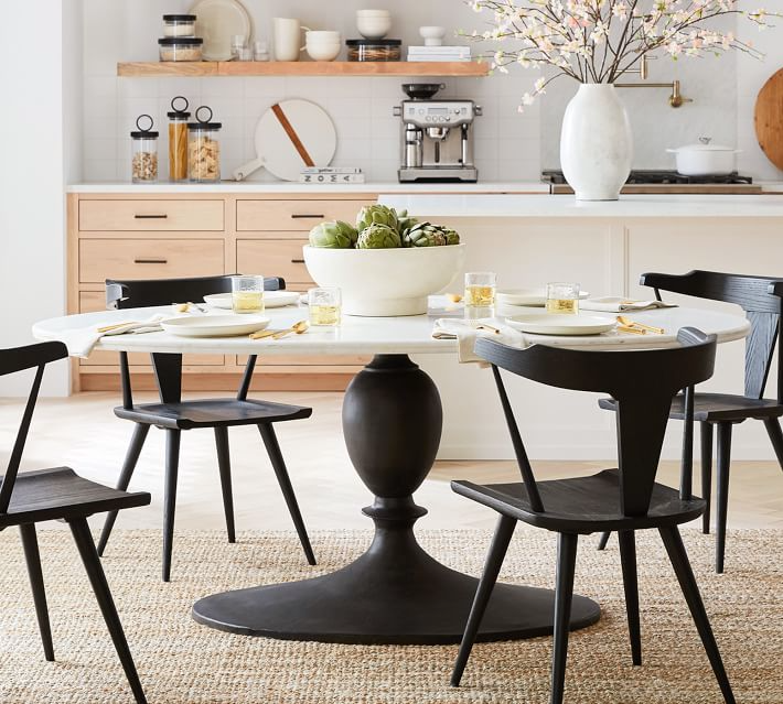 Chapman Oval Marble Pedestal Dining Table