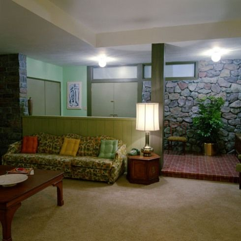 The Brady S Double Front Doors Opened Into The Most Familiar And Cozy Living Room Of My Childhood Mid Century Modern House Interior House Interior