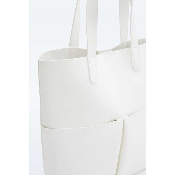Structured Double Pocket White Tote Bag (43 CAD) ❤ liked on Polyvore featuring bags, handbags, tote bags, white tote handbags, handbags tote bags, structured tote bag, tote purse and strap purse