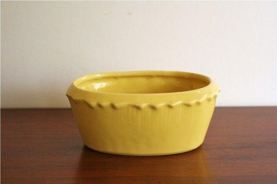 vintage mccoy yellow ceramic planter.