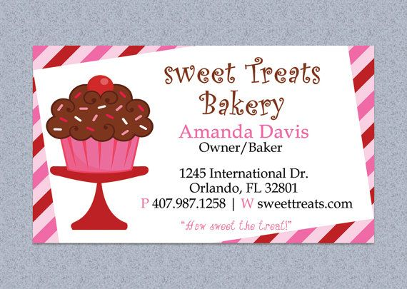 Cupcake stripes bakery business card design editable template cupcake stripes bakery business card design by mydiydesigns 850 reheart Gallery