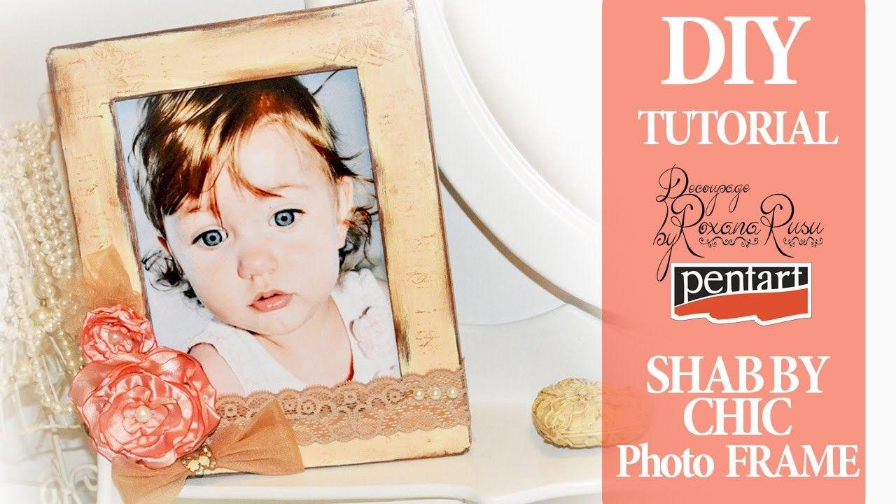DIY Shabby Chic Photo Frame Tutorial with silk flowers