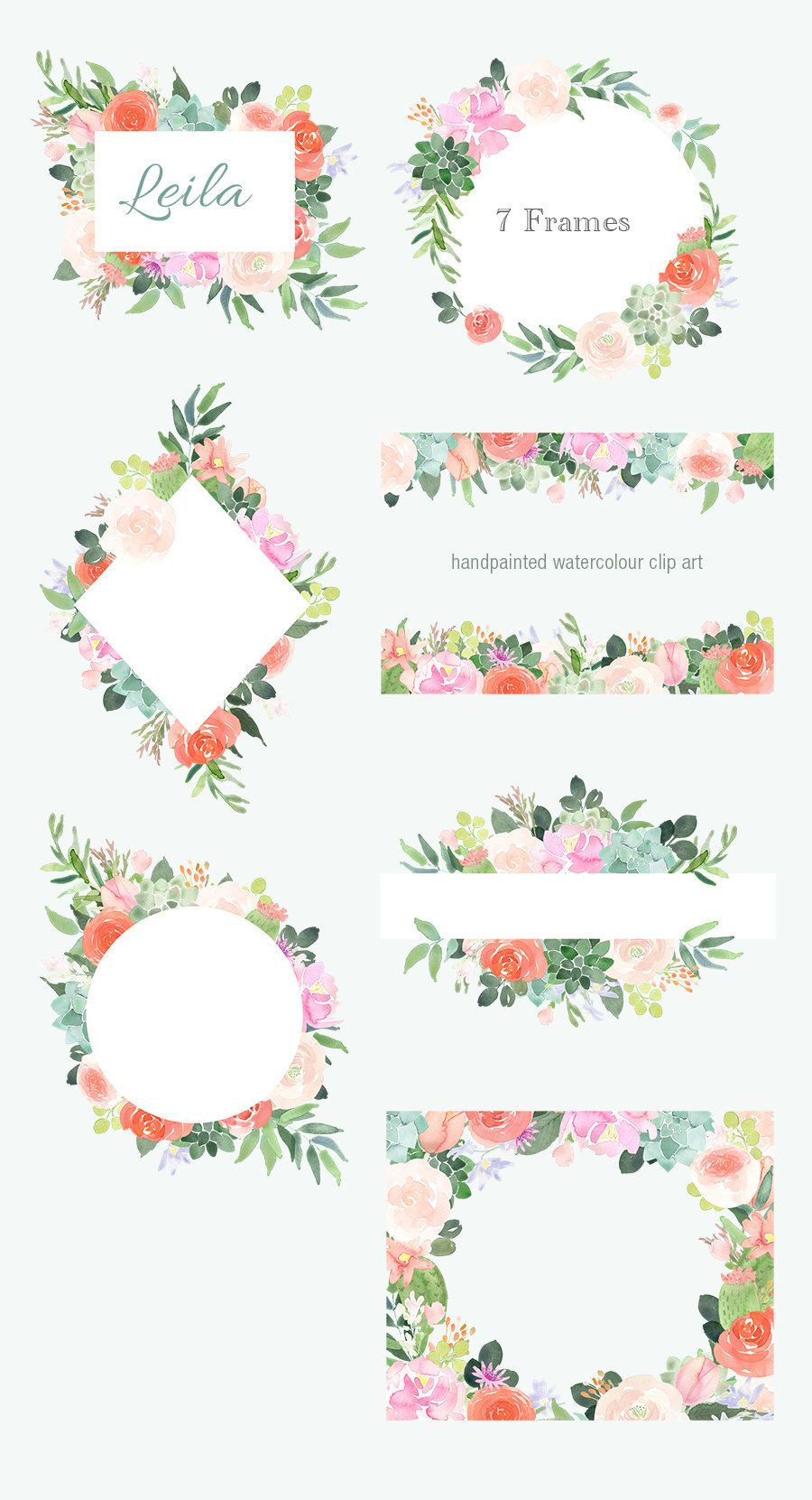 Floral Clipart Watercolor Flower Frames And Borders Roses