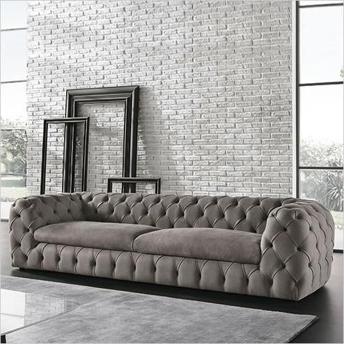 Autografo Sofa With Tufted Back Grey Suede Leather Scan Design Furniture Modern And Contemporary Florida Italian Sofa Designs Furniture Loft Furniture