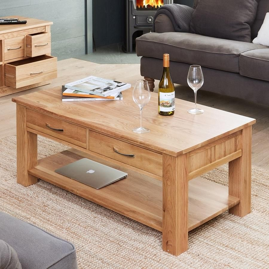 Classic Oak Coffee Table With Drawers Oak Furniture Living Room Coffee Table With Drawers Oak Coffee Table [ 900 x 900 Pixel ]