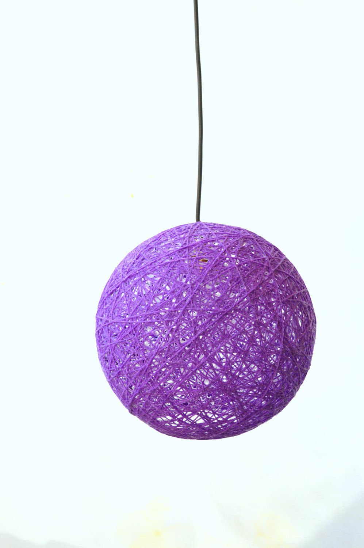 Purple Sphere. Modern Pendant Lamp. Globe Pendant Light. Lighting Fixture.  Ball Shadow Lamp. Bedroom Light Fixture. Ceiling Lamp. (30cm 12