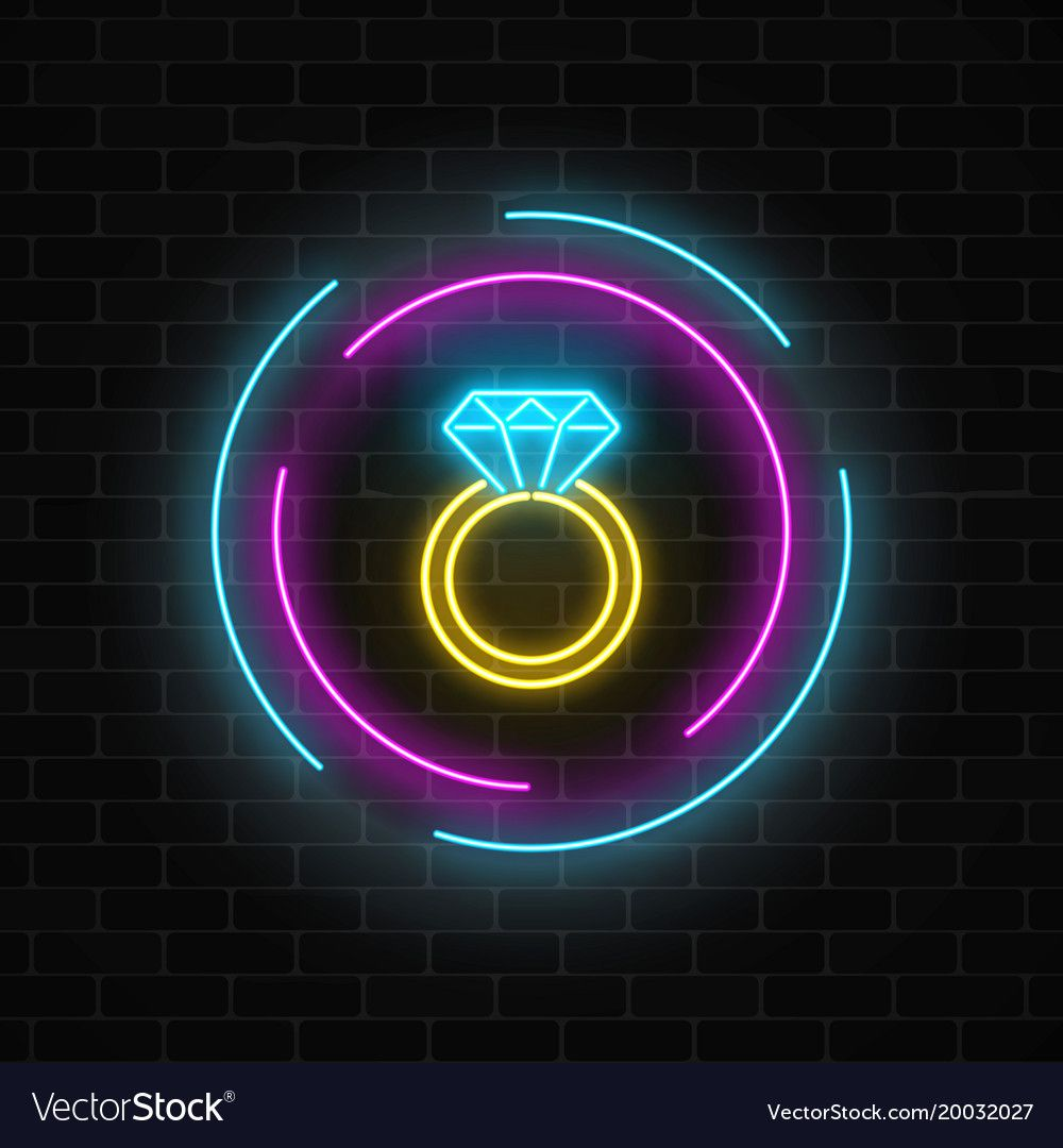 Glowing neon banner including a ring with a vector image