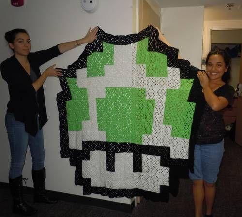 🍄 Super Mario Estilo Cobertor Invencível Cogumelo Crochê -  / 🍄 Super Mario Style Blanket Invincible Mushroom Crochet Hooks -