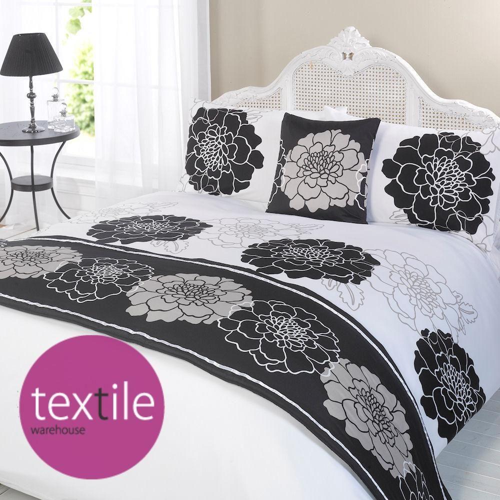 marisa black white floral duvet quilt bed in a bag bedding cushion cover ru decor i adore. Black Bedroom Furniture Sets. Home Design Ideas