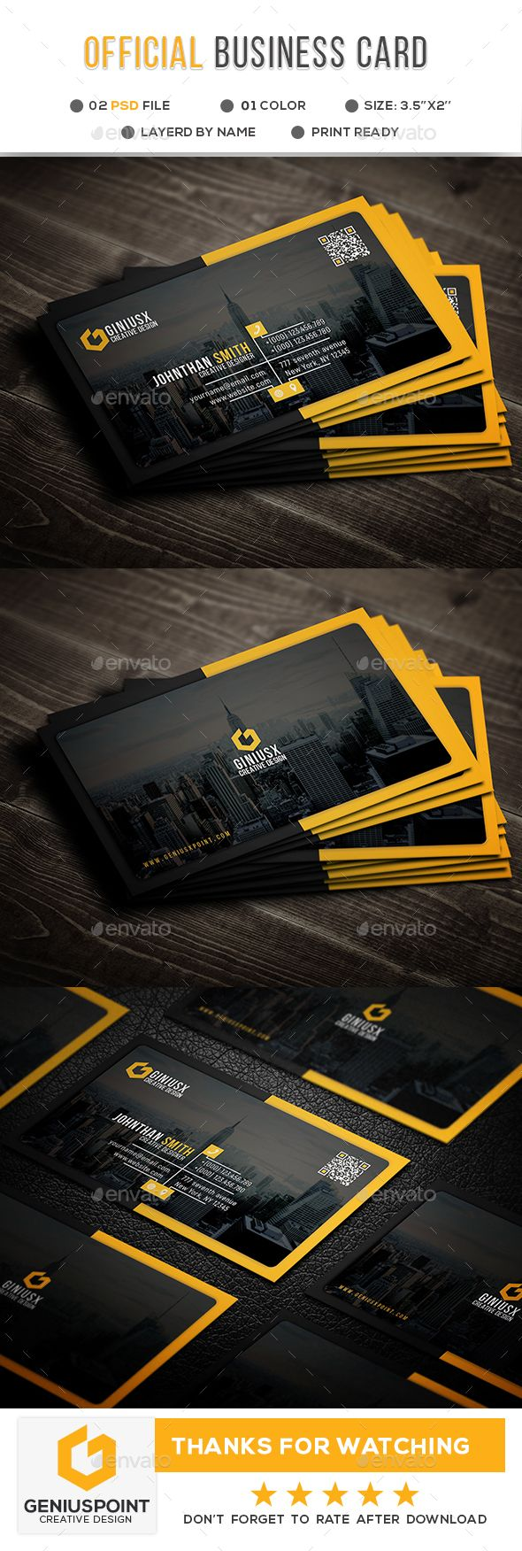Official Business Card Template PSD