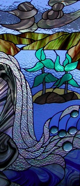 Stained glass window hangings by knapp stained glass for Glass waterfall design