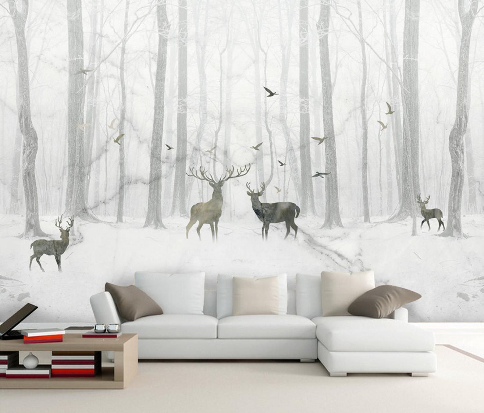 3D Black White Elk Forest Removable Wallpaper,Peel and