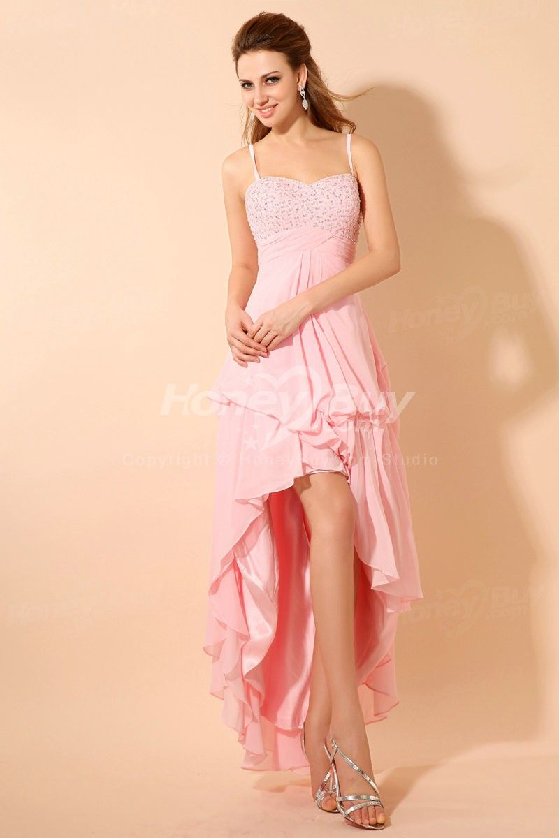 Pink high low chiffon prom dresses with spaghetti straps