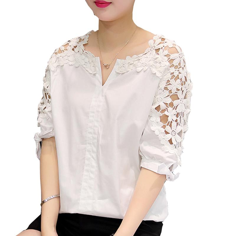 223ba4278588a Camisas Femininas 2017 White Shirt Women Tops Hollow Out Flowers Cotton  Lace Blouse moda mujer Korean Fashion Vetement Femme 5XL