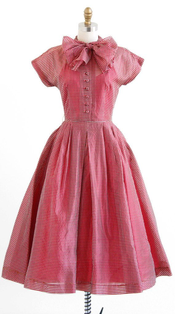 vintage 1950s dress / 50s dress / Red Gingham Organza Party Dress ...