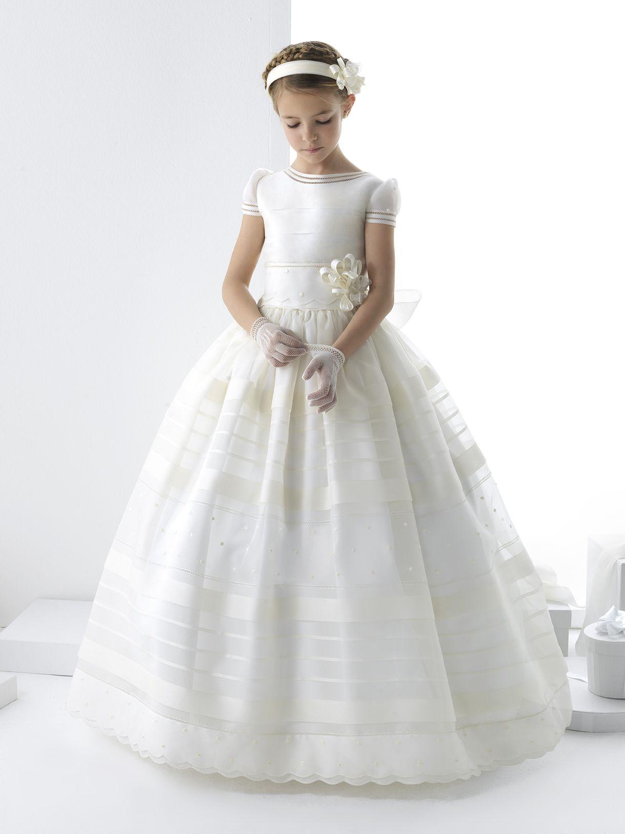 ef17d526e1bbd Nectarean Ball Gown Short Sleeve Bow(S) Floor-Length Communion ...